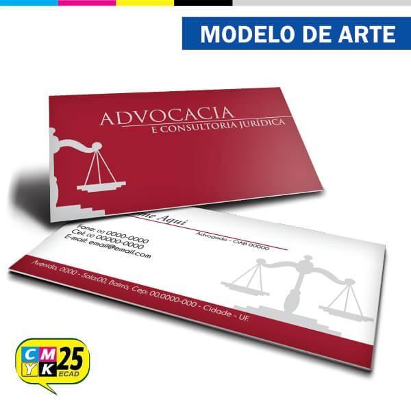 Detalhes do produto Cartão de Visita Advogado - Vermelho e Cinza