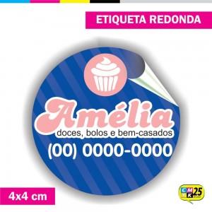 Detalhes do produto Etiqueta Redonda em Vinil - 4x4cm