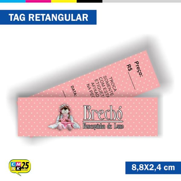 Detalhes do produto Tag  4x4 - Retangular - 2000 Unid. - 8,8x2,4cm