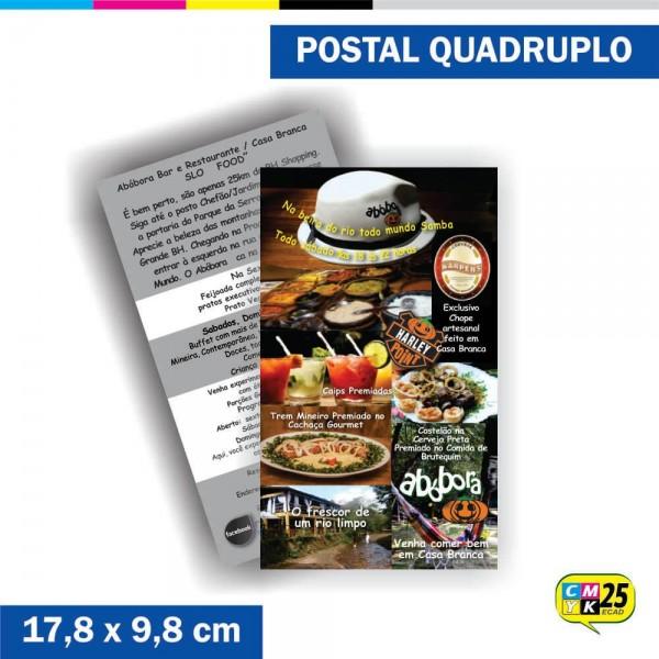 Detalhes do produto Postal Quadruplo - 4x1 Cores - Verniz Total Frente