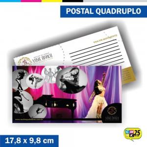 Detalhes do produto Postal Quadruplo - 4x4 Cores - Laminação Fosca - Verniz Localizado
