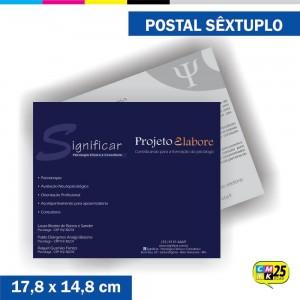 Detalhes do produto Postal Sêxtuplo - 4x1 Cores - Verniz Total Frente