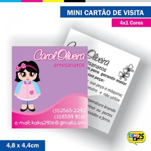 Detalhes do produto Mini Cartão de Visita - 4x1 cores - 4,8x4,4cm