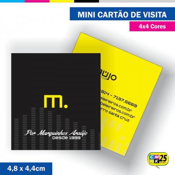 Detalhes do produto Mini Cartão de Visita - 4x4 cores - 4,8x4,4cm - Laminação Fosca - Verniz Localizado
