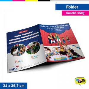 Detalhes do produto Folder A4 - Couché 150g - 4x4 Cores - 50 Unid. - Laminação Fosca