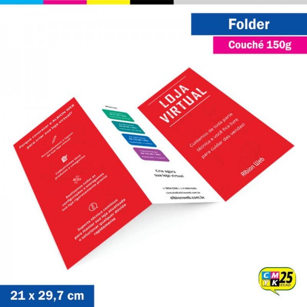 Detalhes do produto Folder A4 - Couché 150g - 4x4 Cores - 1.000 Unid.