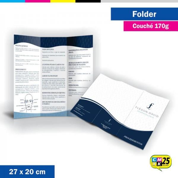 Detalhes do produto Folder 3 Bandeiras - 27x20cm - Couché 170g - 4x4 Cores - 2.000 Unid. - Laminação Fosca