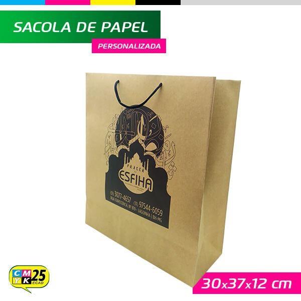 Detalhes do produto Sacola de Papel Kraft Personalizada - 30x37x12cm