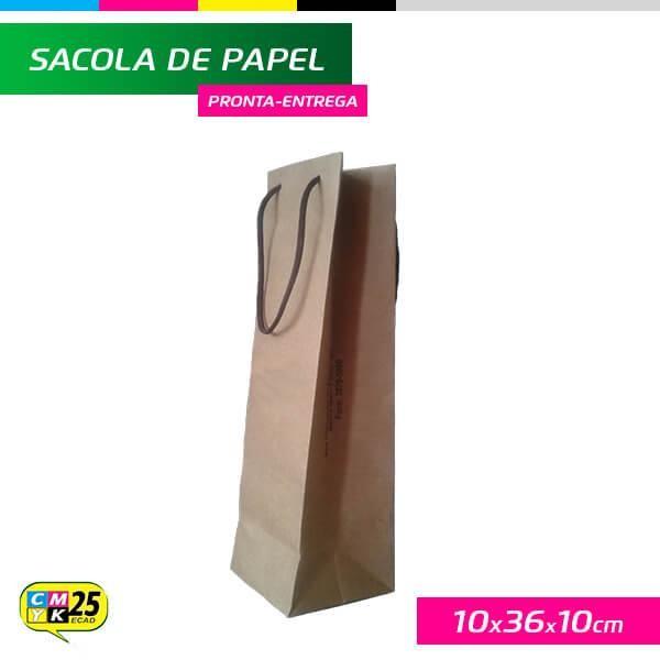Detalhes do produto Sacola para Garrafa - Papel Kraft 125g - 10x36x10cm - 10 Unid