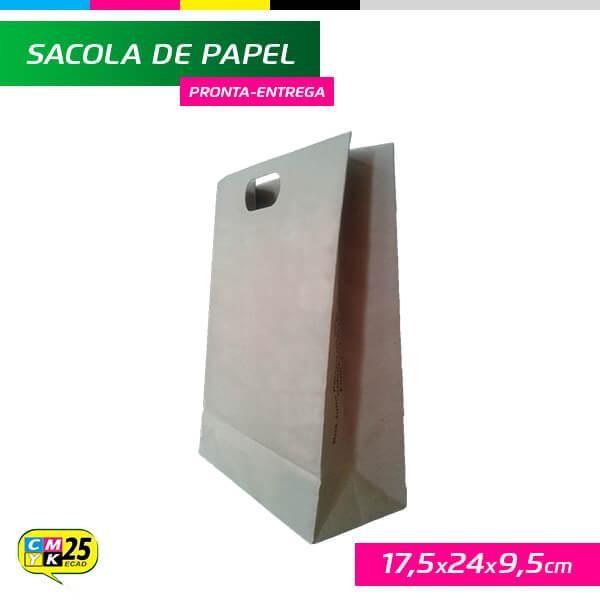 Detalhes do produto Sacola de Papel Kraft - 17x24x9,5cm - 10 Unid