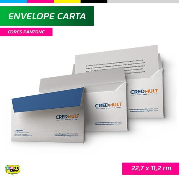 Detalhes do produto Envelope Carta - 22,7x11,2cm - Impressão 1 Cor