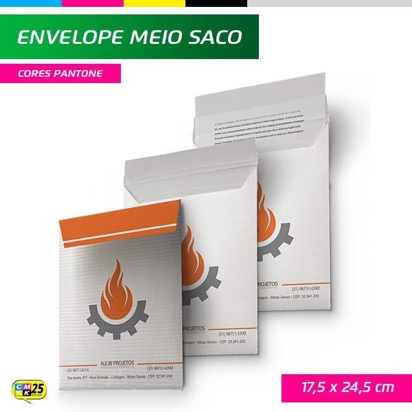 Detalhes do produto Envelope Meio Saco - 17,5x24,5cm - Impressão 1 Cor