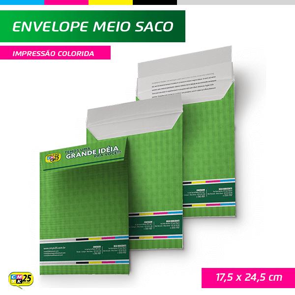 Detalhes do produto Envelope Meio Saco - 17,5x24,5cm - Impressão Colorida