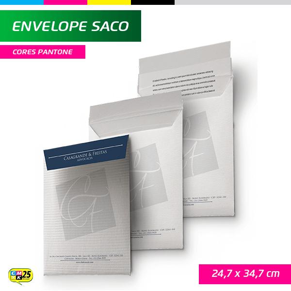 Detalhes do produto Envelope Saco - 24,7x34,7cm - Impressão 1 Cor
