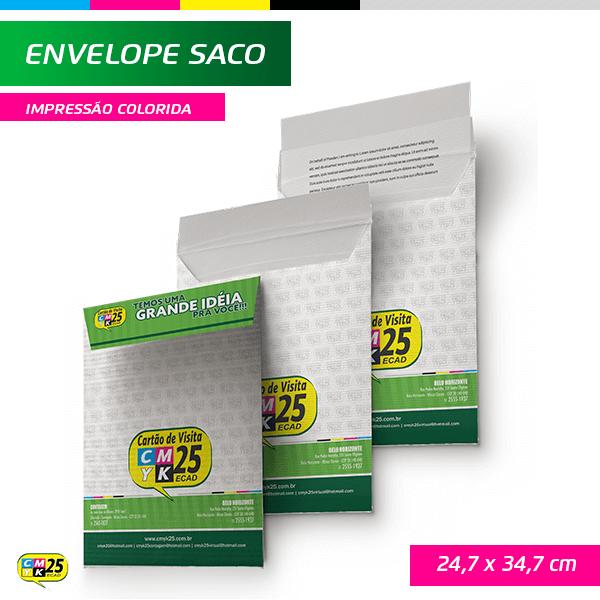 Detalhes do produto Envelope Saco - 24,7x34,7cm - Impressão Colorida