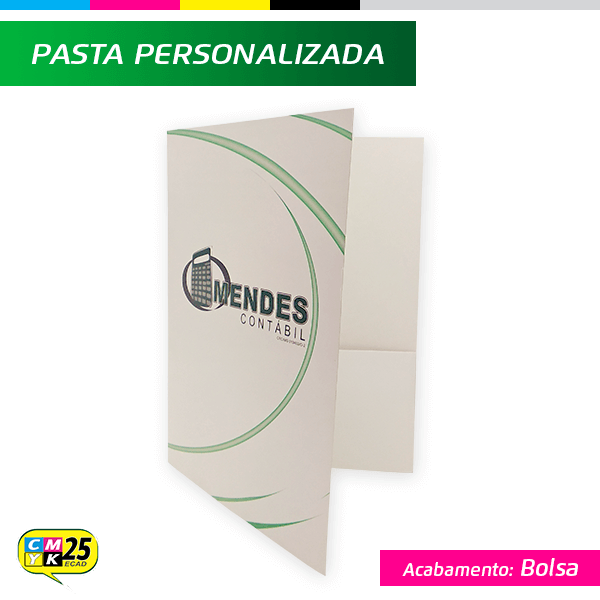 Detalhes do produto Pasta - 4x0 - Plastificada - Bolsa Branca