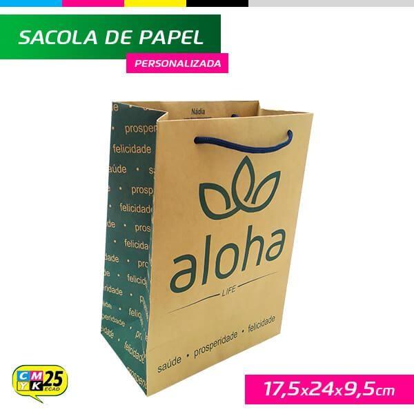 Detalhes do produto Sacola de Papel Kraft Personalizada - 17,5x24x9,5cm - 1.000 Unid.