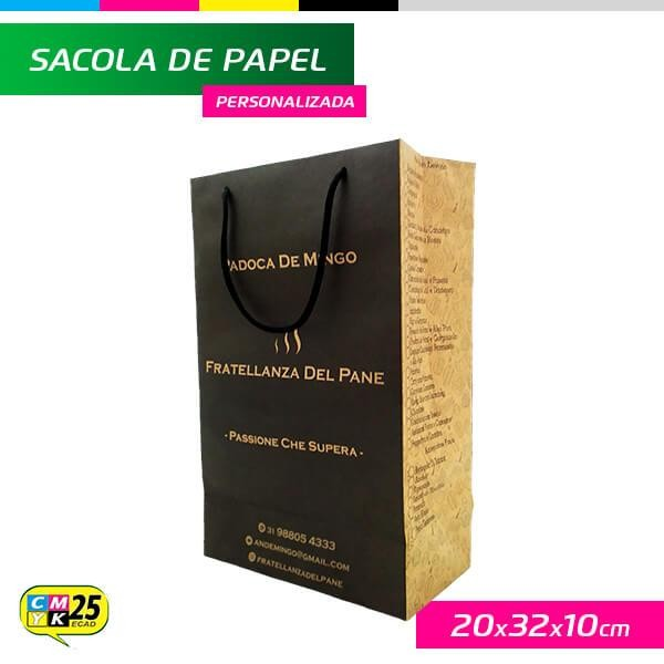 Detalhes do produto Sacola de Papel Kraft Personalizada - 20x32x10cm - 1.000 Unid.
