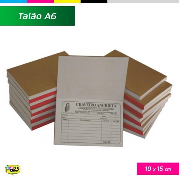 Detalhes do produto Talão A6 - 10x15cm - 20 Blocos 50x2 Vias