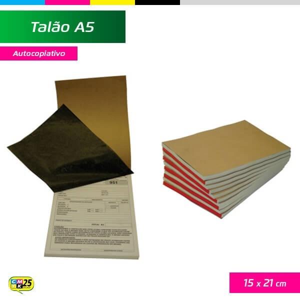 Detalhes do produto Talão A5 - 15x21cm - 10 Blocos 50x2 Vias - Autocopiativo