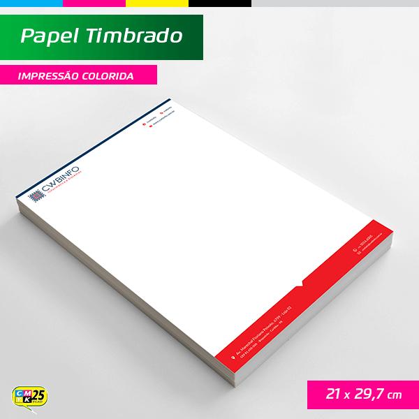 Detalhes do produto Papel Timbrado A4 - 21x29,7cm - 1000 Unid. - Impressão Colorida