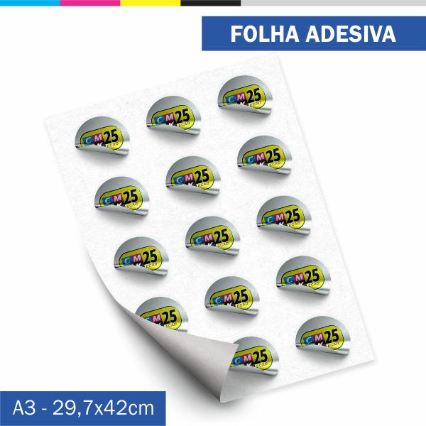 Detalhes do produto Folha Adesiva - Couchê 80g - 1 Unid. + Arte Final