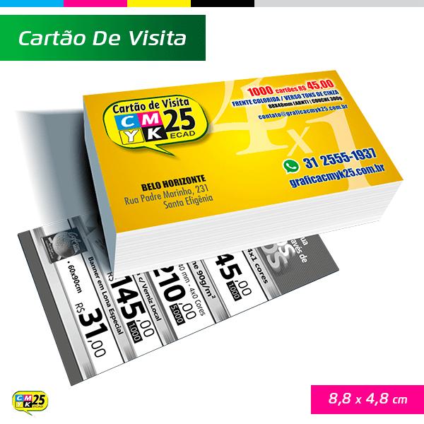Detalhes do produto Cartão de Visita - 4x1 - 1000 Unid. + Arte Final + 4 Cantos Arredondados